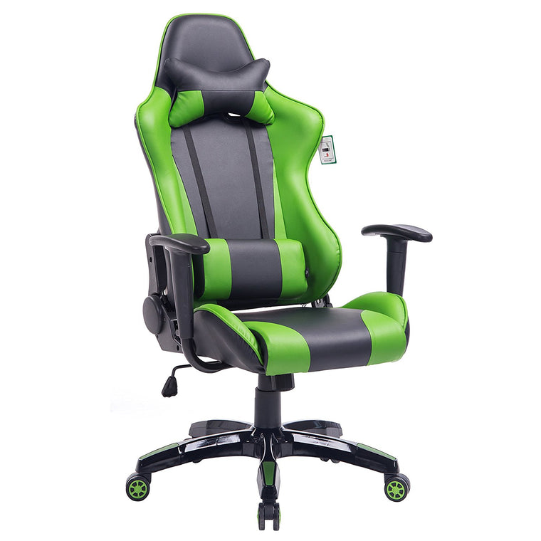 CTF PRO High Back Metal Frame Swivel Gaming Chair with 3-D Adjustable Armrests, Green