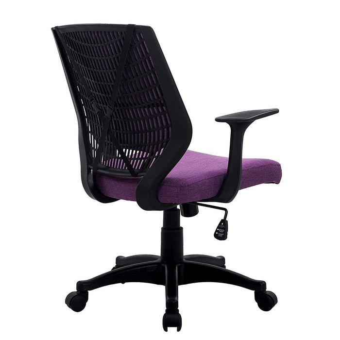 fabric medium mesh back desk office swivel chair with removable back cushion purple