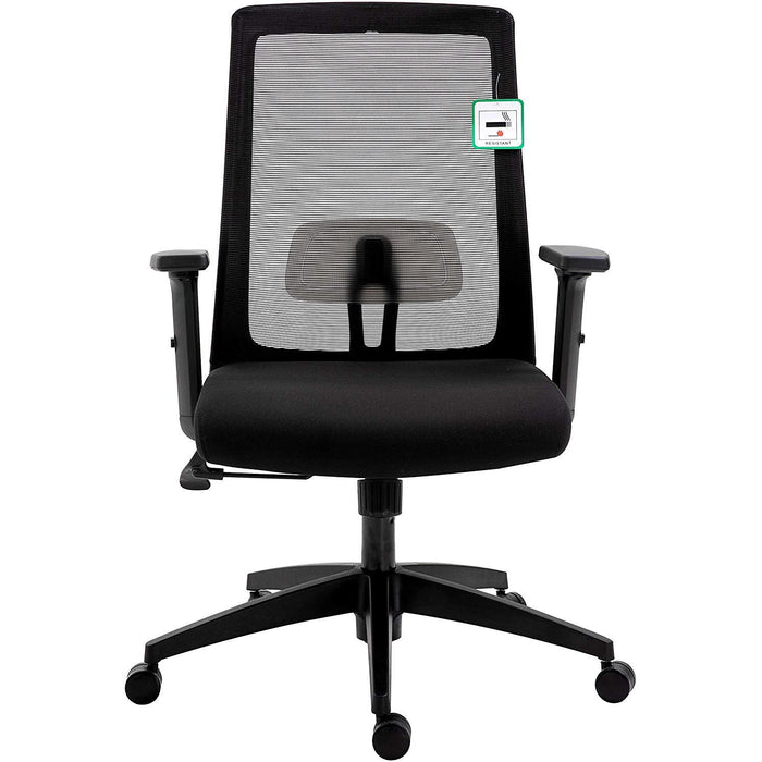 Cherry Tree Furniture Mesh Fabric Desk Chair Office Chair with Adjustable Armrests & Lumbar Support Black, Without Headrest