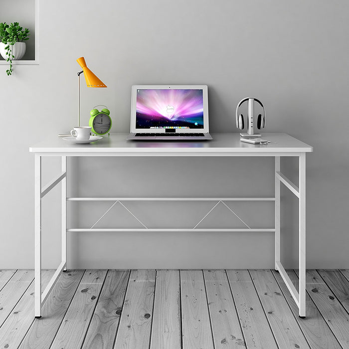sleek design computer desk home office table 100 x 50 x 72 cm white