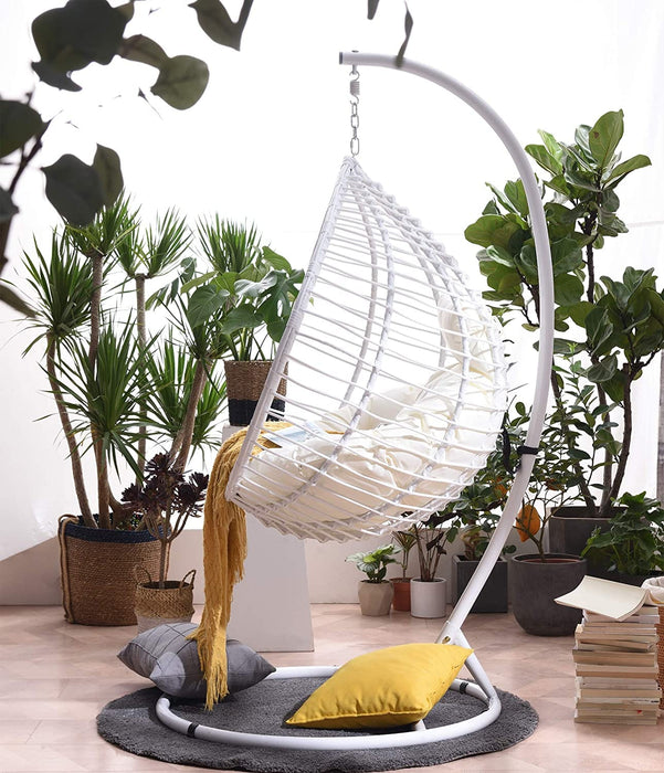 Breeze White Rattan Effect Hanging Egg Chair 3