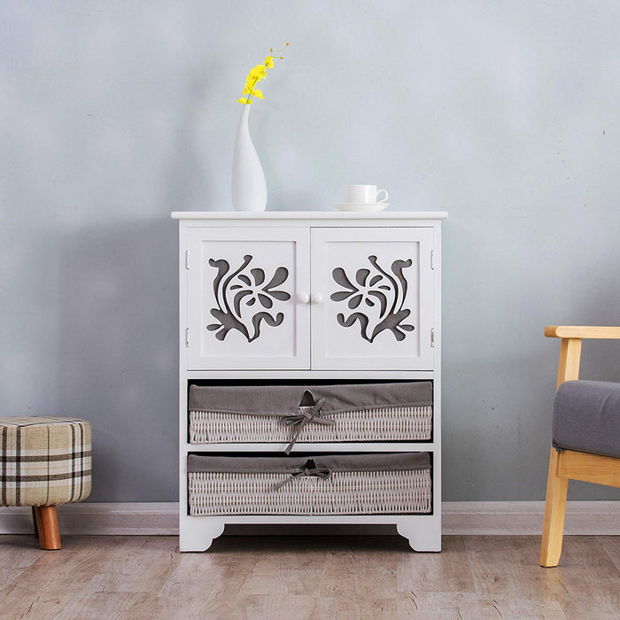 White Paulownia Wood Sideboard Drawer Chest with Carved Cabinet Doors & Wicker Baskets