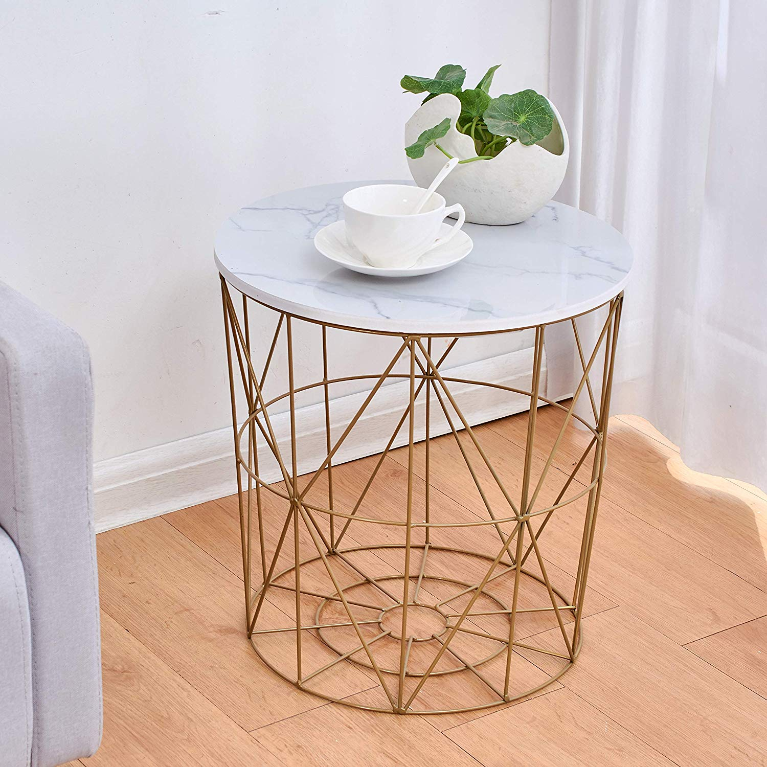Picture of: Cherry Tree Furniture Koram Marble Effect Top Basket Side Table Golden Geometric Wire Frame End Table Shop Designer Home Furnishings