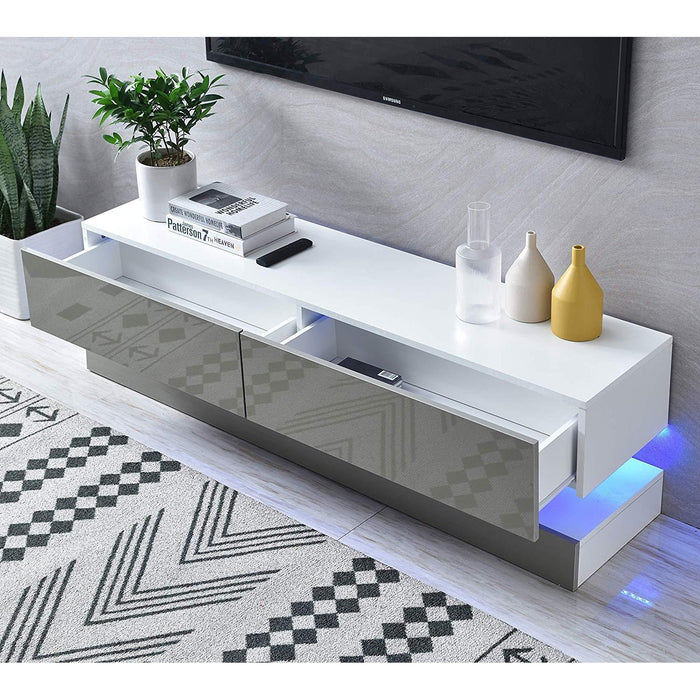 Cherry Tree Furniture MELDAL LED High Gloss TV Stand, TV Unit Cabinet Grey, 138 cm