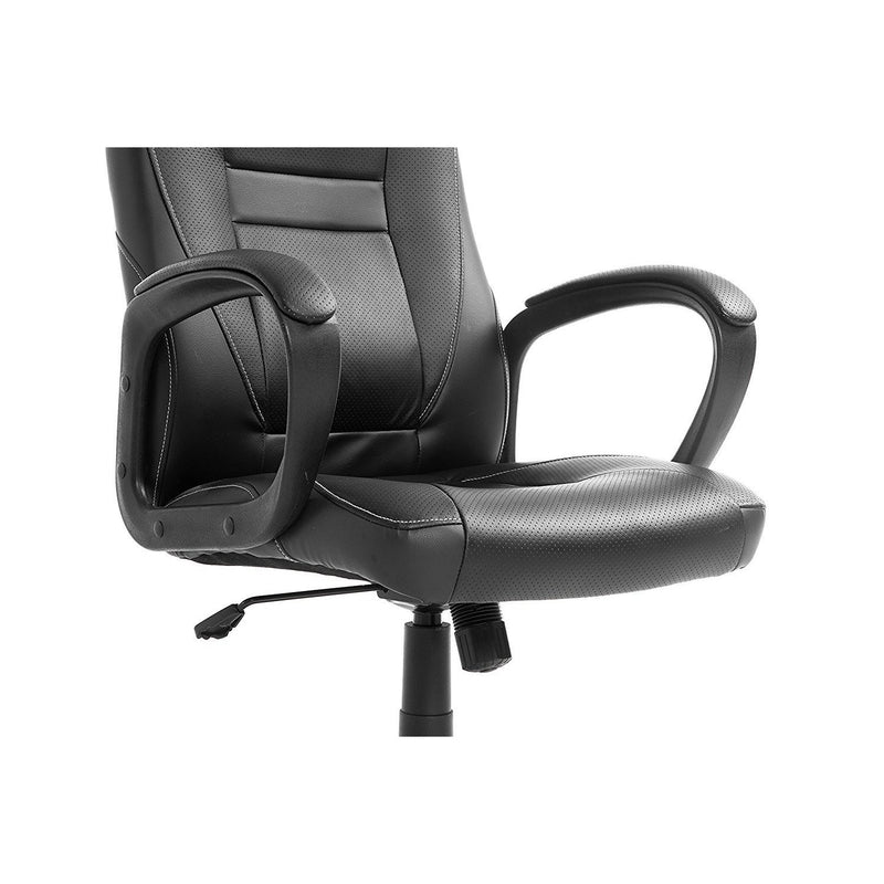 DaAls Swivel Office Desk Chair MO19 Black PU Leather 4