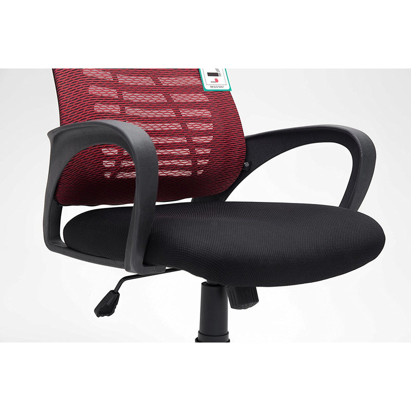 mesh fabric padded swivel office chair computer desk chair dark red black
