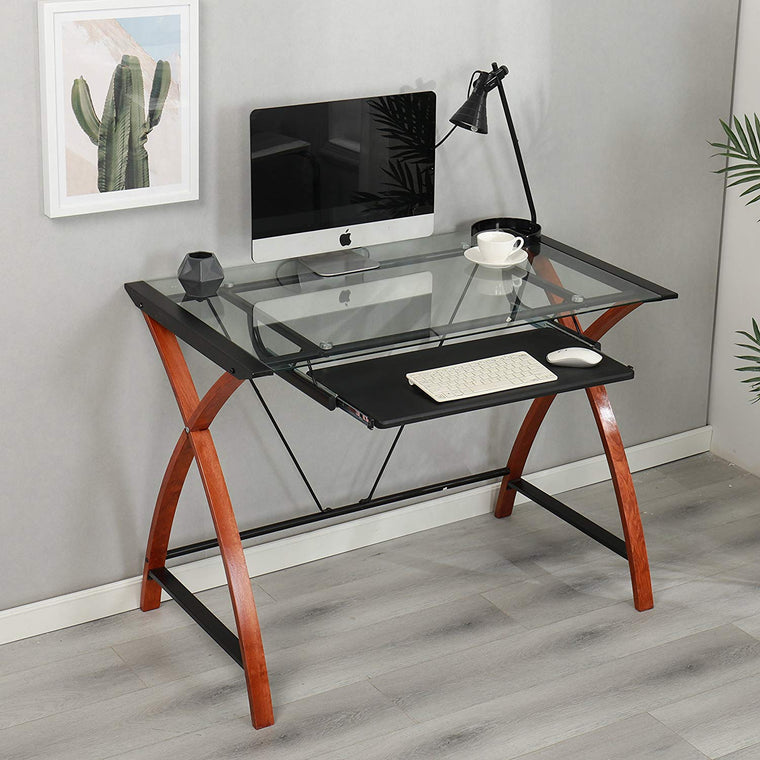HERMAN Tempered Glass Desk with Keyboard Tray, Steel Frame & Solid Wood Legs