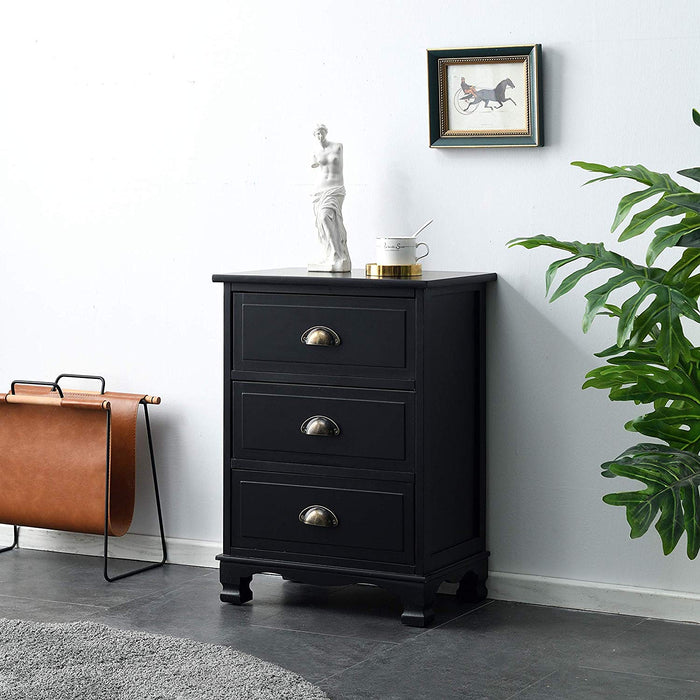 CAMROSE Wooden Chest of Drawers/Bedside Table with Metal Cup Pull Handles Black 3 Drawer 1