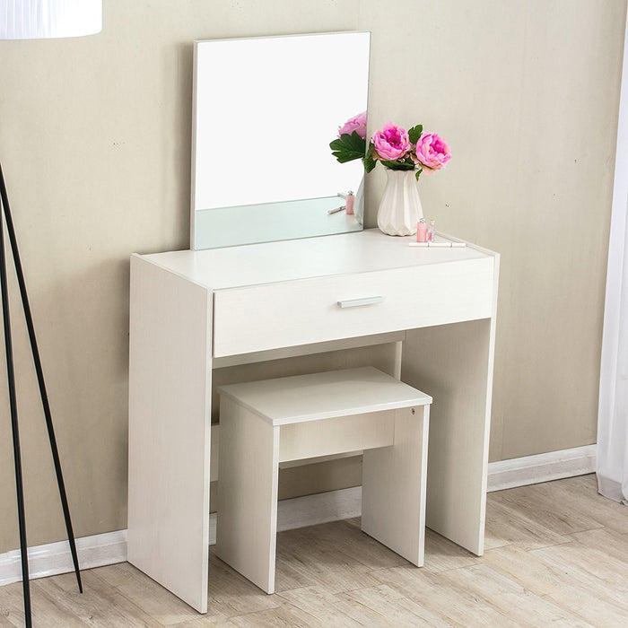 Modern Design Large Mirror Vanity Dressing Table with Stool, Beige
