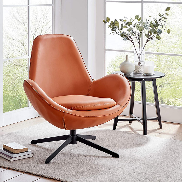 Brampton Terracotta PU Leather Swivel Armchair