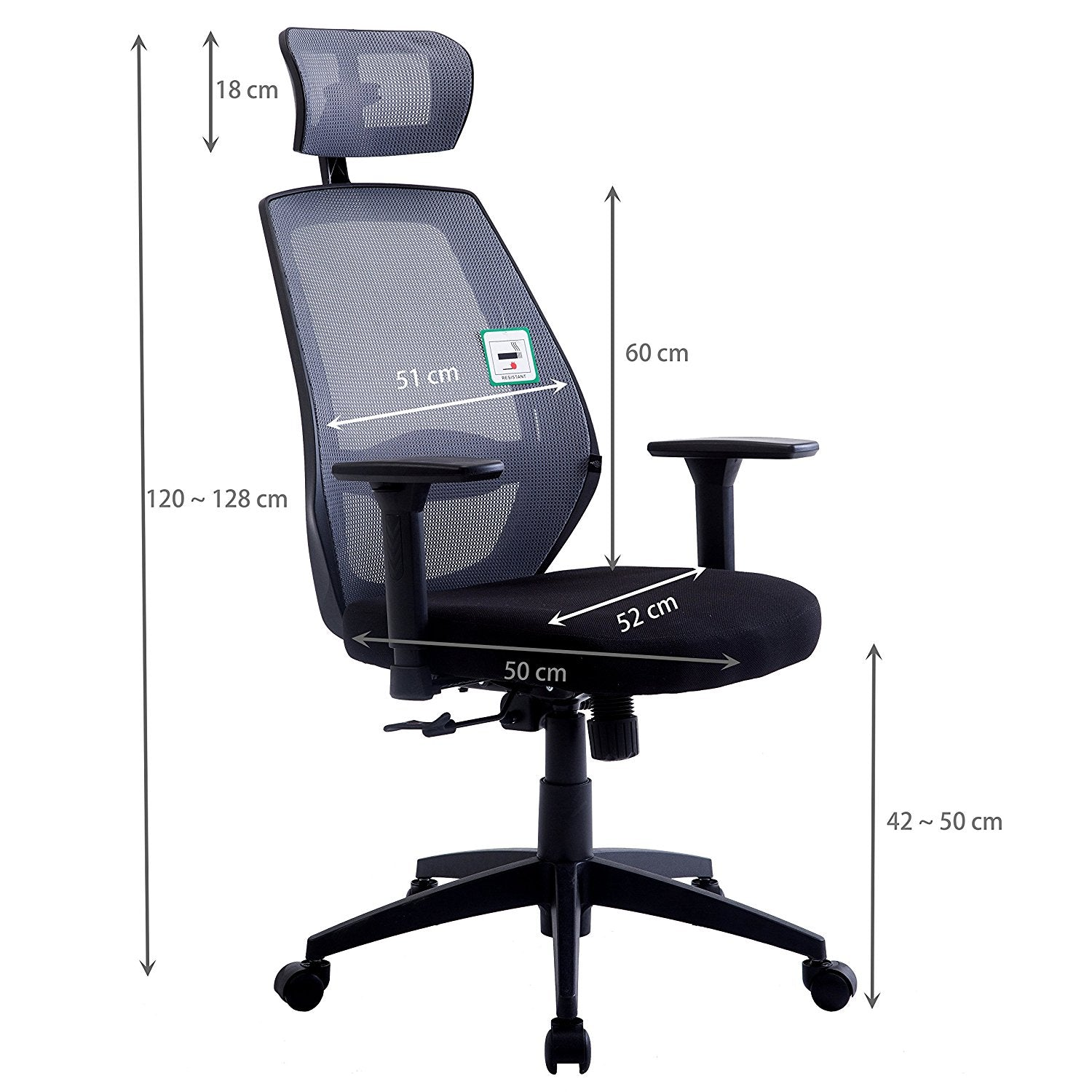 Mesh Fabric High Back Swivel Office Chair With Adjustable
