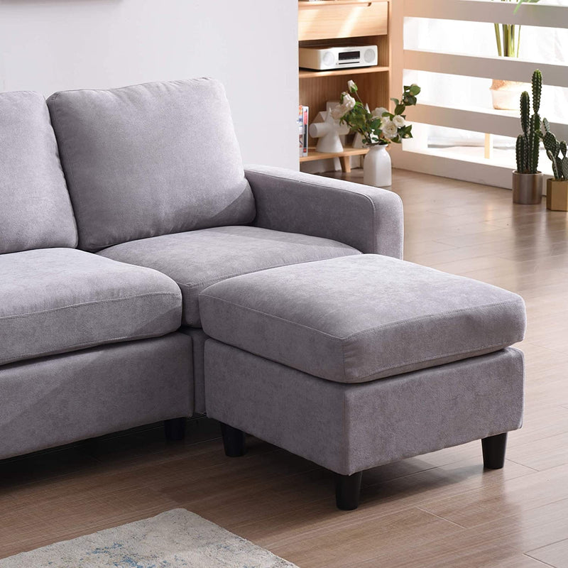 Campbell 3 Seater Sofa with Reversible Chaise in Light Grey 7