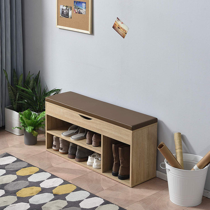 Hallway Shoe Rack Padded Bench Storage 103.5 x 29.5 x 48 cm Oak 3