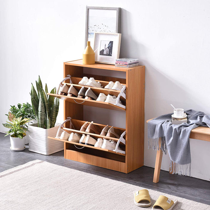 Cherry Tree Furniture 2 Drawer Wooden Shoe Cabinet Cupboard Storage Footware Organiser Unit Beech