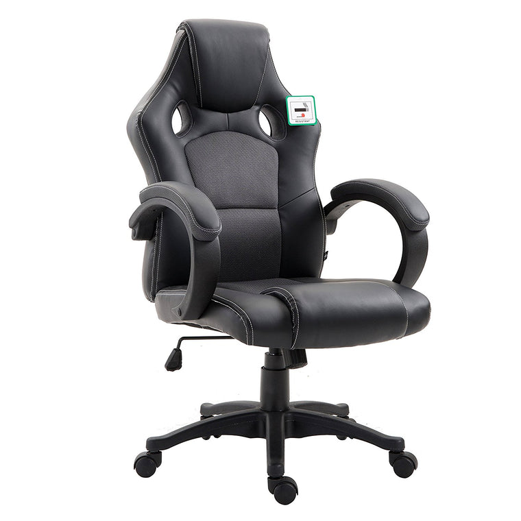 CTF Sport Racing Gaming PU Leather & Fabric Swivel Office Chair, Dark Grey
