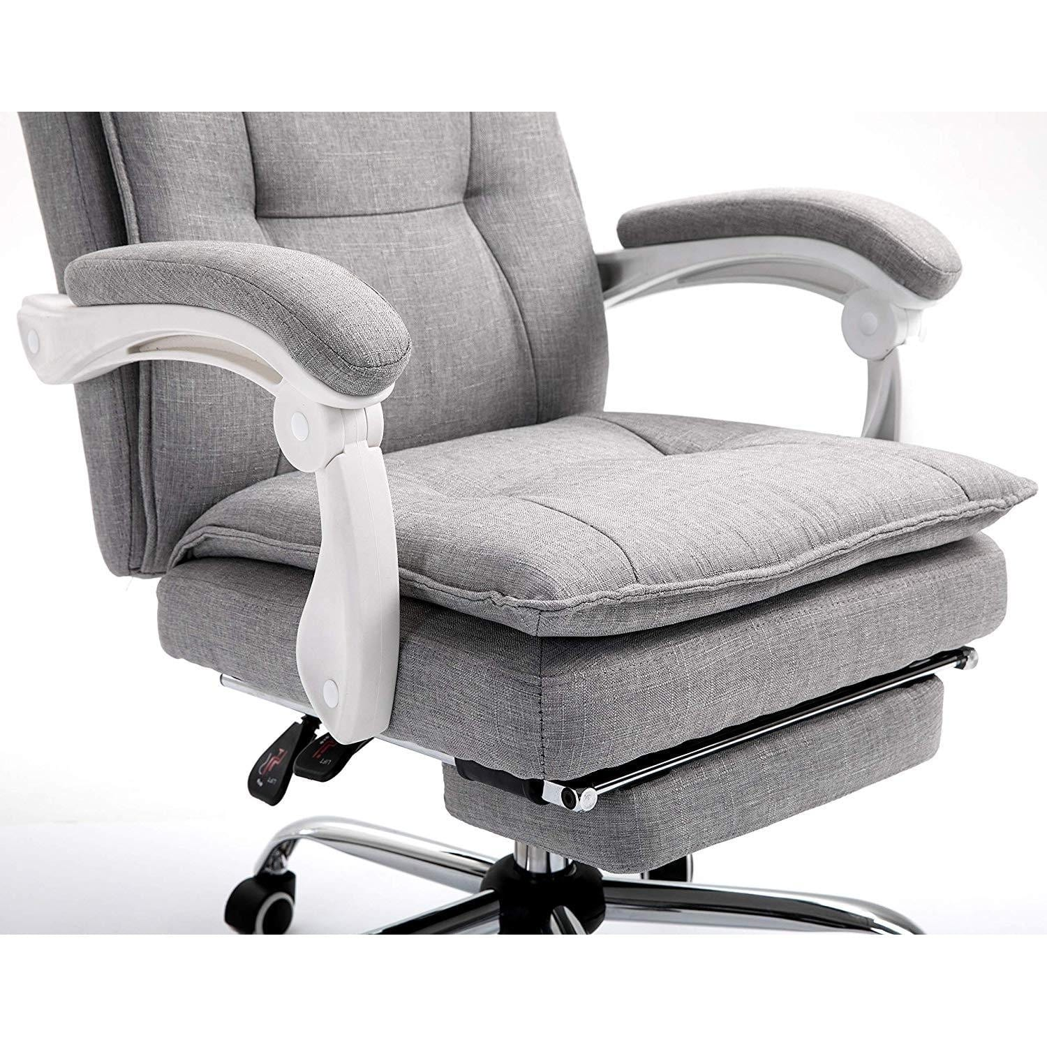 Executive Double Layer Padding Recline Office Desk Chair With Footrest Mr77 Grey Fabric Shop Designer Home Furnishings