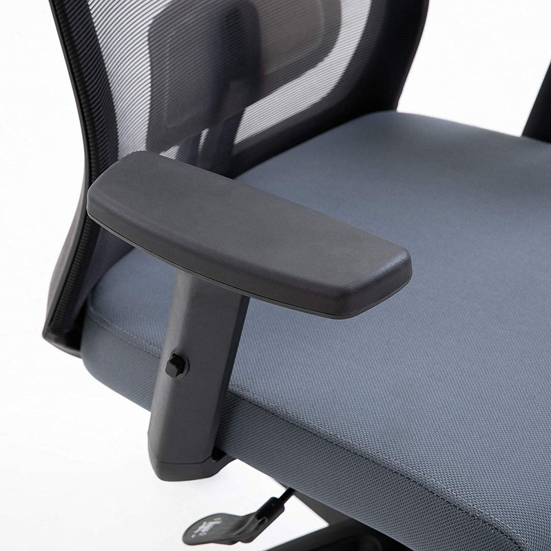 Cherry Tree Furniture Mesh Fabric Desk Chair Office Chair with Adjustable Armrests & Lumbar Support Grey, With Headrest