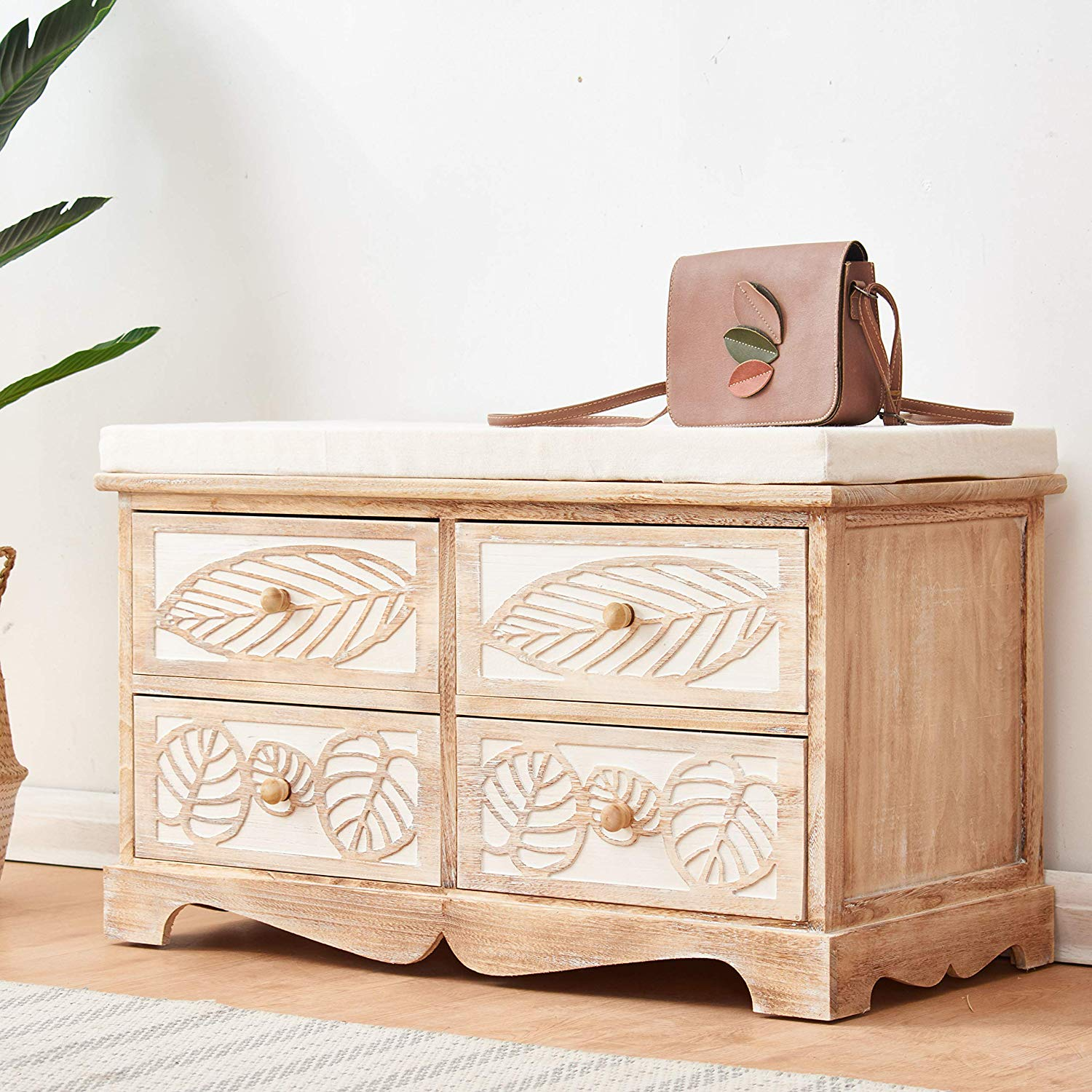 Cherry Tree Furniture Country Vintage Style Wooden Sculpted 4-Drawer Cushioned Shoe Bench Storage Bench