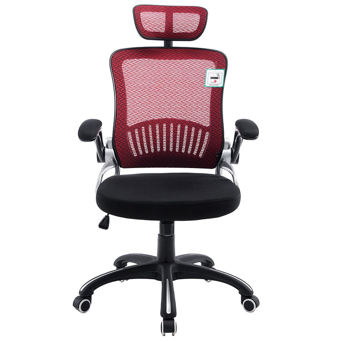 mesh high back extra padded swivel office chair with head support adjustable arms red