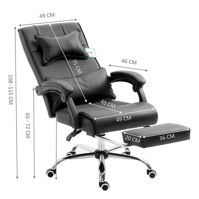 Premium Executive Reclining Desk Chair with Footrest, Headrest and Lumbar Cushion Support (Black PU)