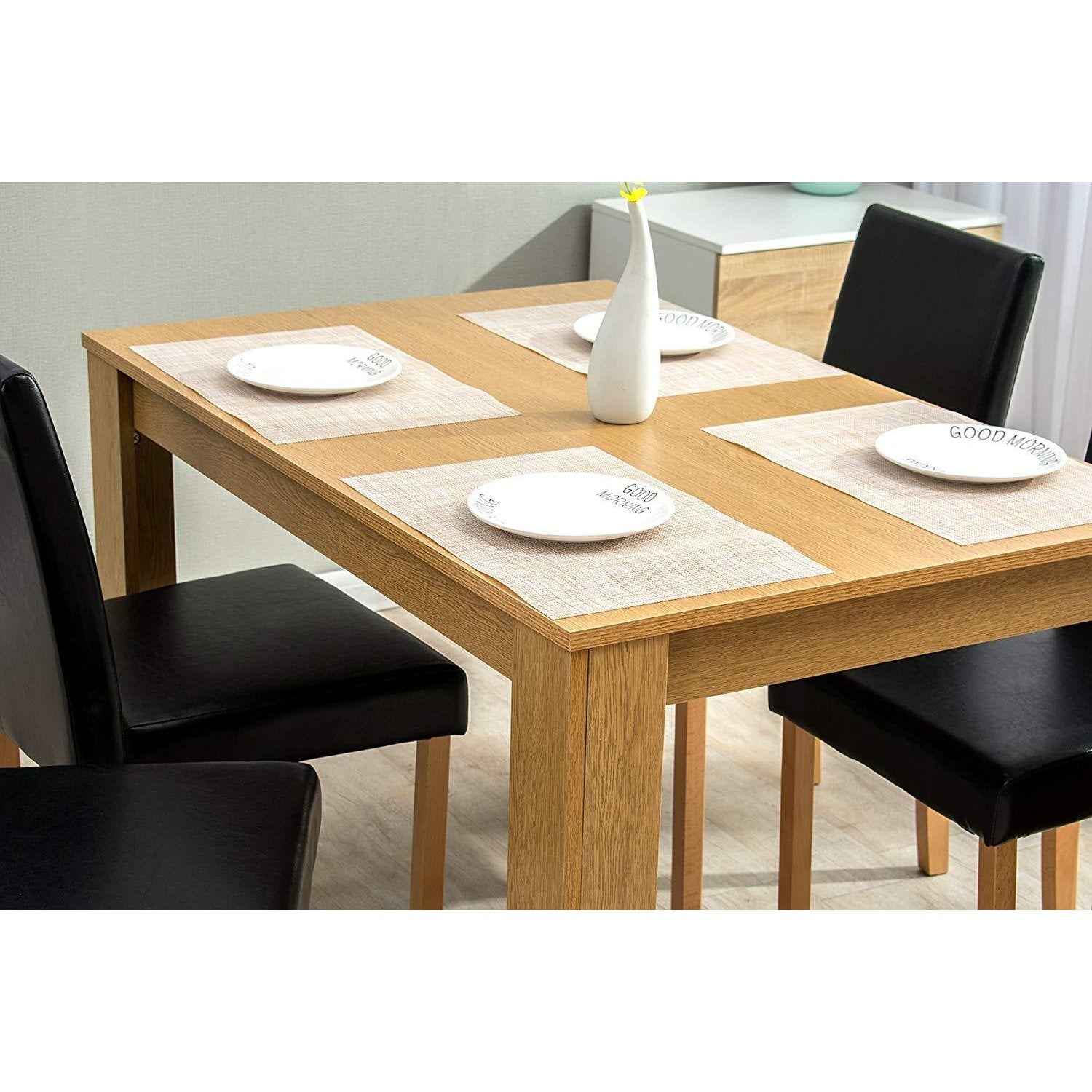 LKSJ 9 Piece Wood Dining Table Set for 9 Person Home Kitchen Table ...