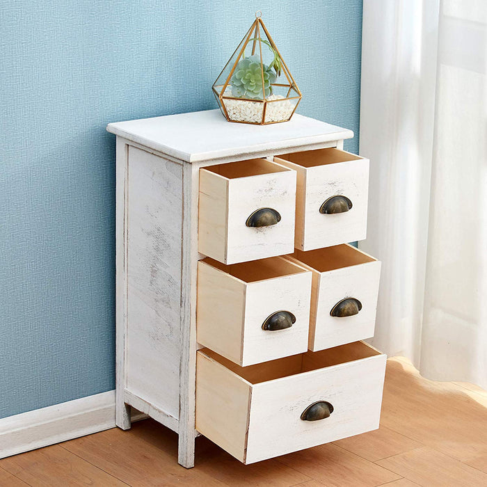 distressed white paulownia wood shabby chic cabinet 5 drawers chest