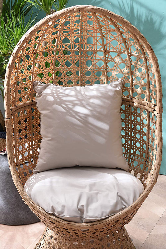 Nerida Natural Rattan Effect Cocoon Swivel Garden Egg Chair 5