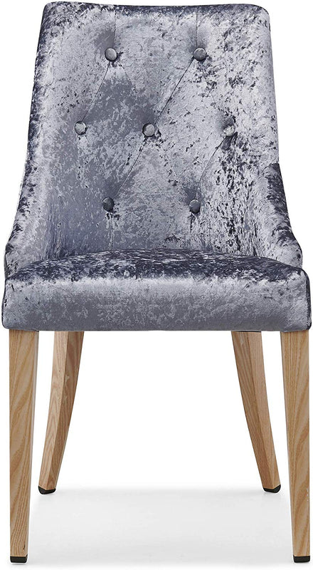 Burnaby Set of 2 Crushed Velvet Dining Chairs with Buttoned Back in Grey 2