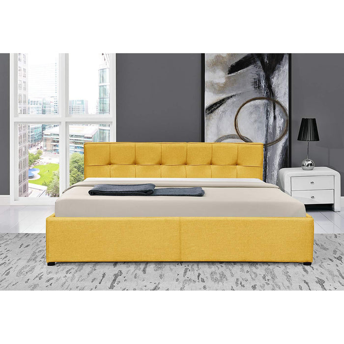 corona fabric ottoman storage bed frame with tufted headboard yellow