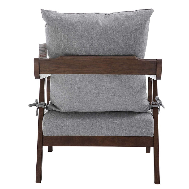 Bentwood Grey Fabric Armchair Accent Chair with Solid Wood Frame