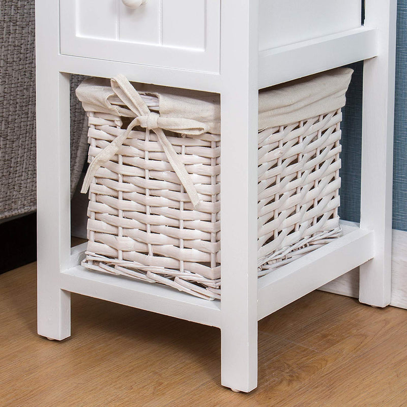 White Wood Bedside Table with 1 Drawer & 1 Wicker Basket Storage