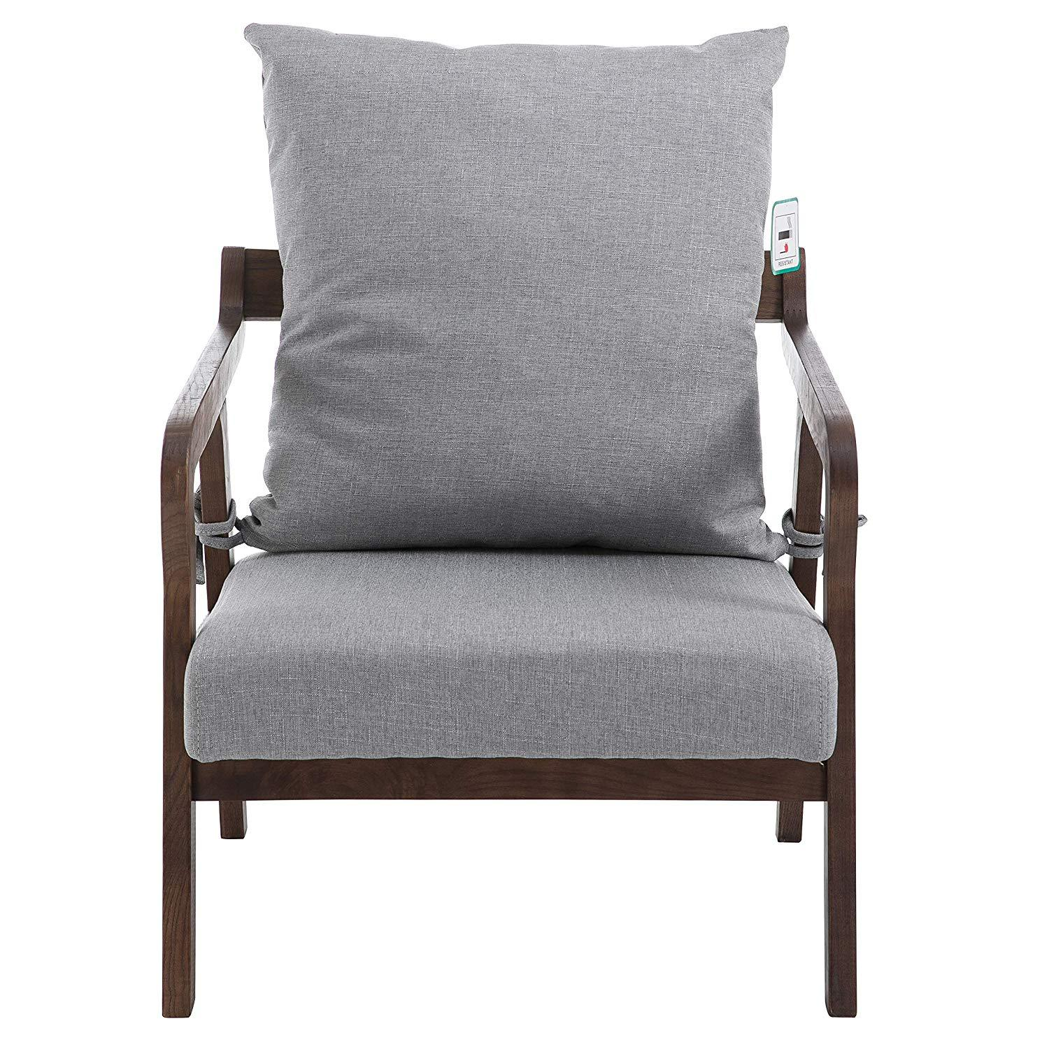 Bentwood Grey Fabric Armchair Accent Chair with Solid Wood ...