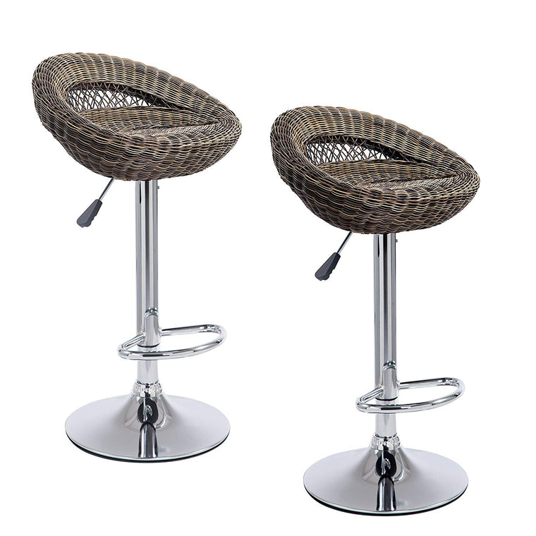SET OF 2 Wicker Rattan High Swivel Bar Stools Kitchen Stools MB212, Brown