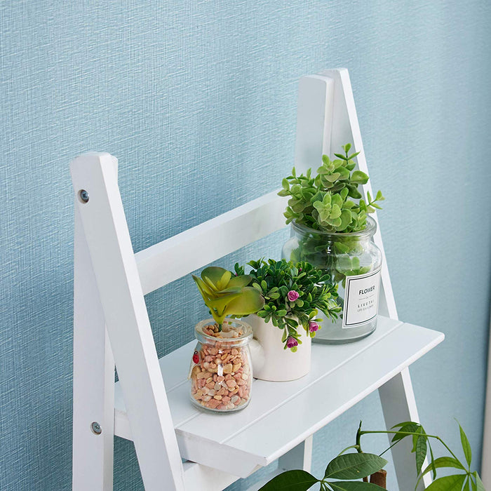 3 tier foldable display shelf unit flower shelf unit standing plant holder white