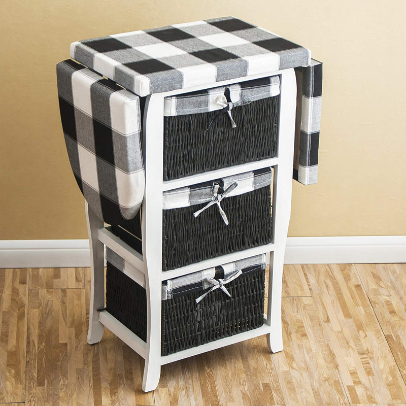 Wood Wicker Folding Ironing Board Centre with Storage Baskets Chest of Drawers