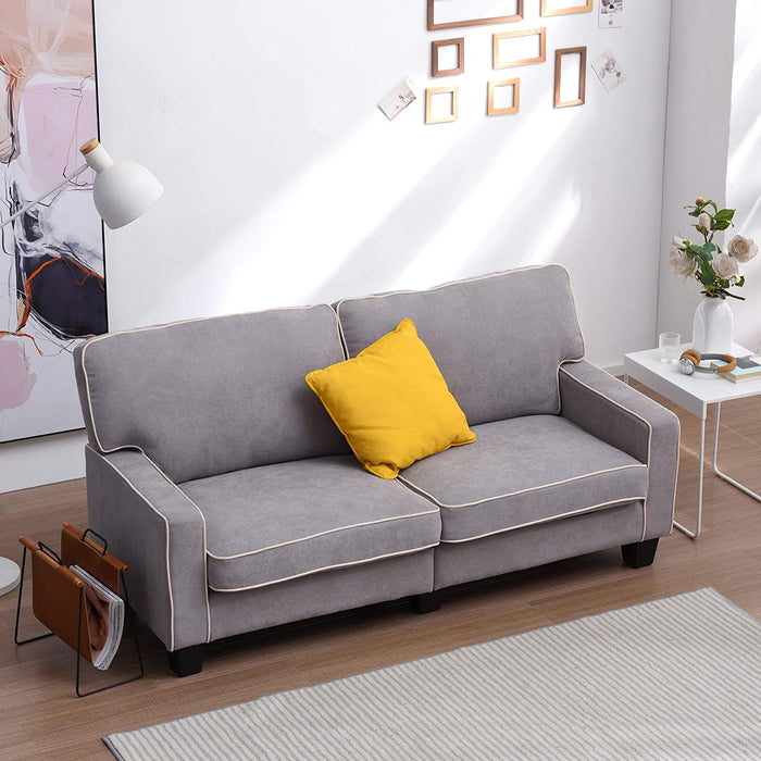 Sherbrook Large 2 Seater Fabric Sofa with Contrasting Trim in Light Grey Fabric 4