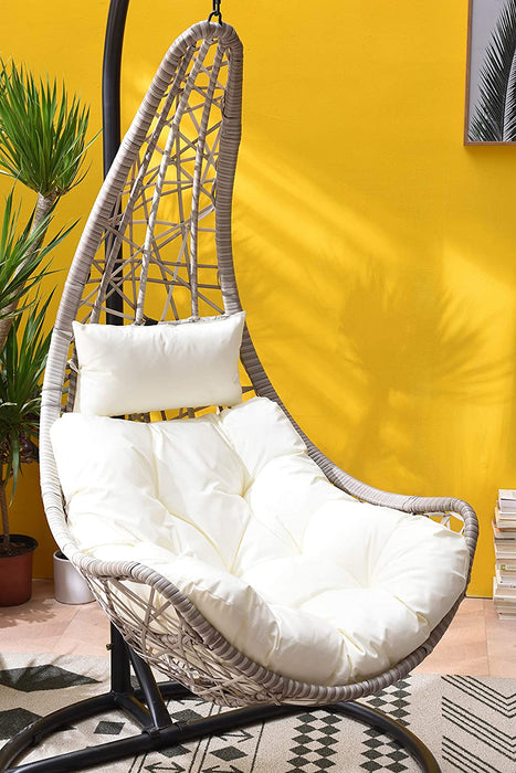 Maple Rattan Effect Hanging Patio Moon Chair Cocoon 6