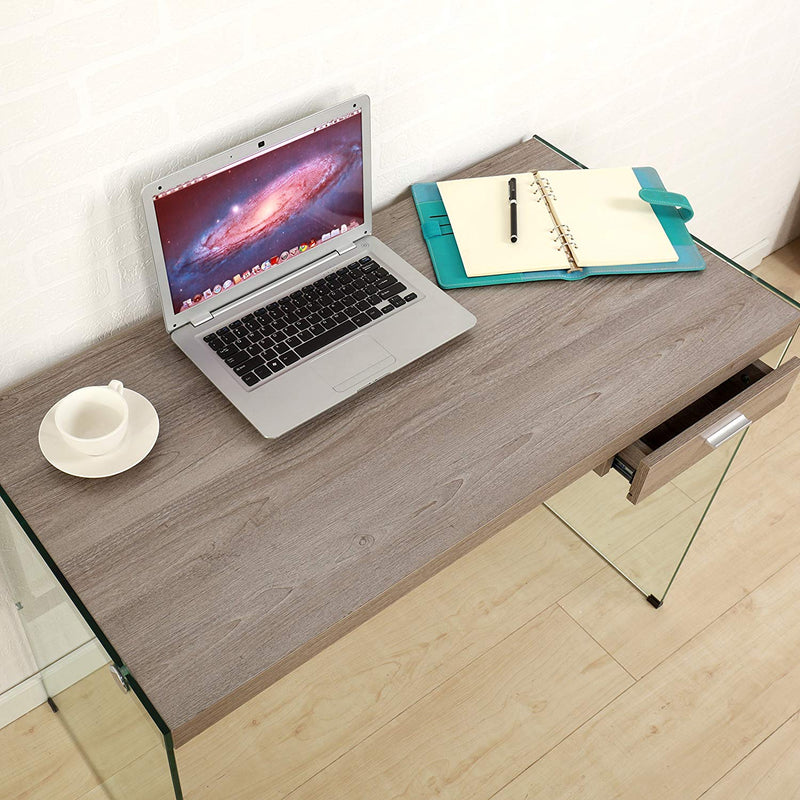 otto modern design walnut grey wood and glass desk