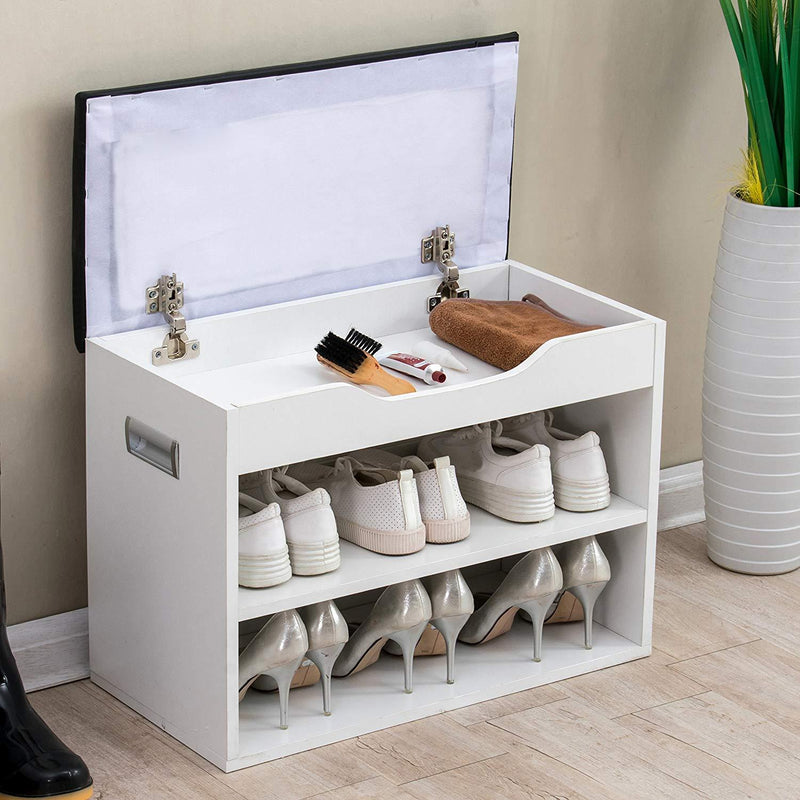 2 level shoe rack bench storage with padded seat black