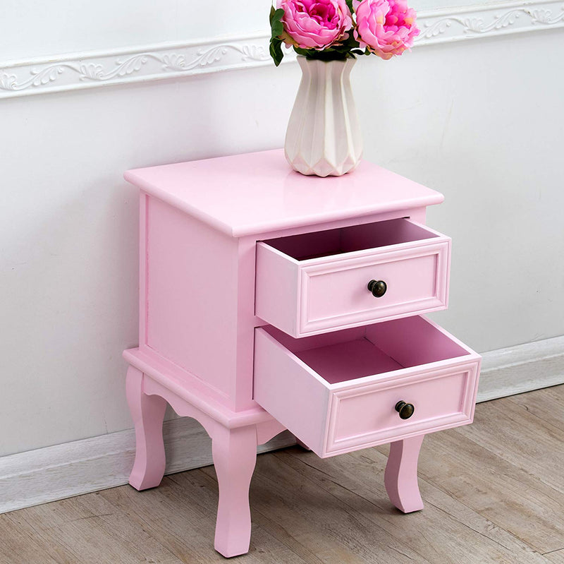 wood bedside table 2 drawer cabinet pink