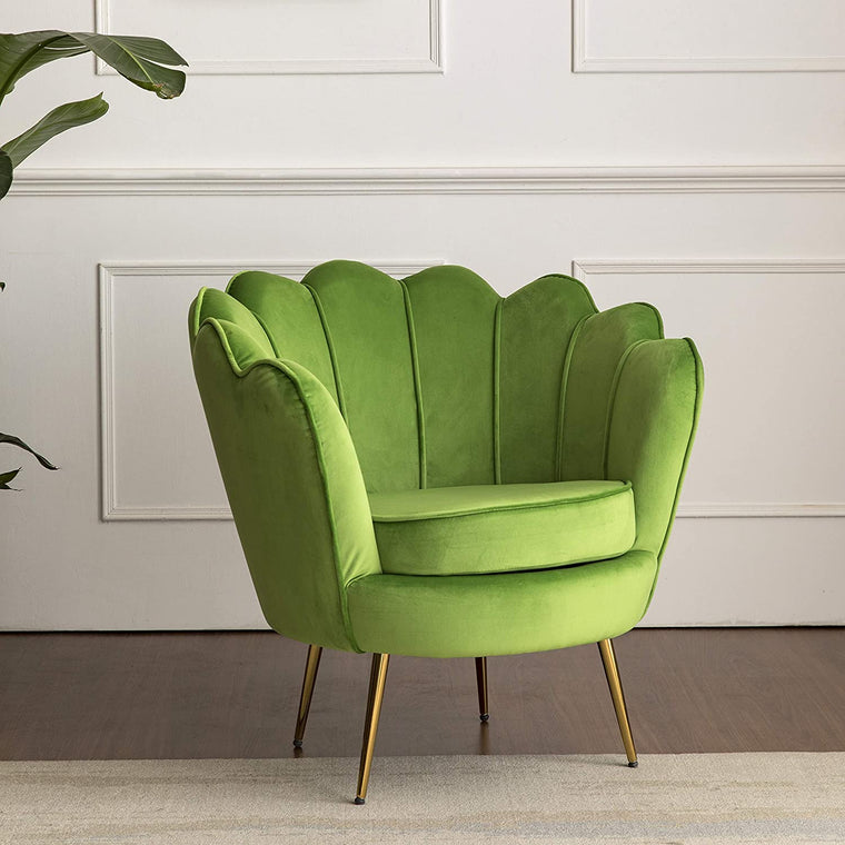 HEPBURN Scalloped Velvet Armchair Tub Chair  Light Green