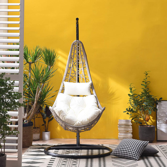 Maple Rattan Effect Hanging Patio Moon Chair Cocoon 3