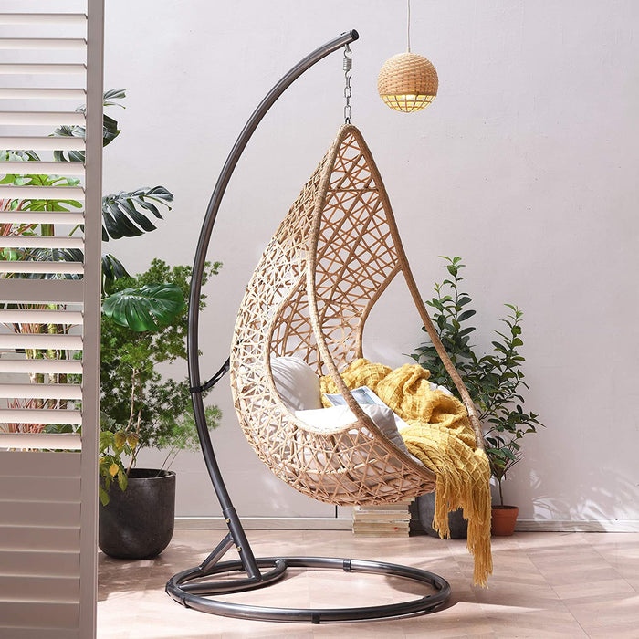 Indra Rattan Effect Patio Hanging Egg Chair 4