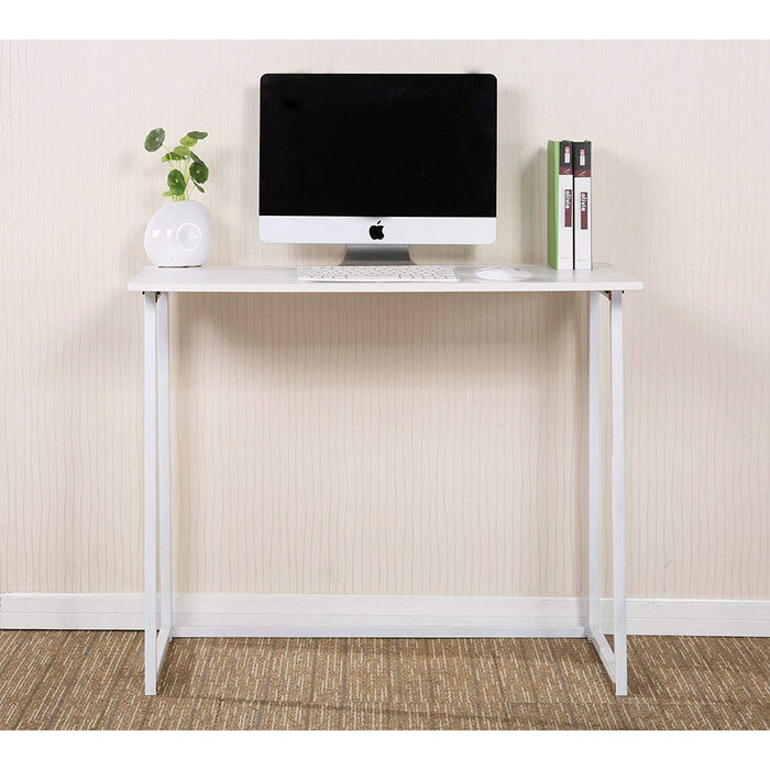 compact flip flop folding computer desk home office laptop desktop table white