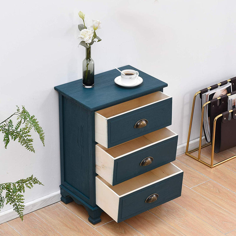 CAMROSE Wooden Chest of Drawers/Bedside Table with Metal Cup Pull Handles Blue 3 Drawer 3