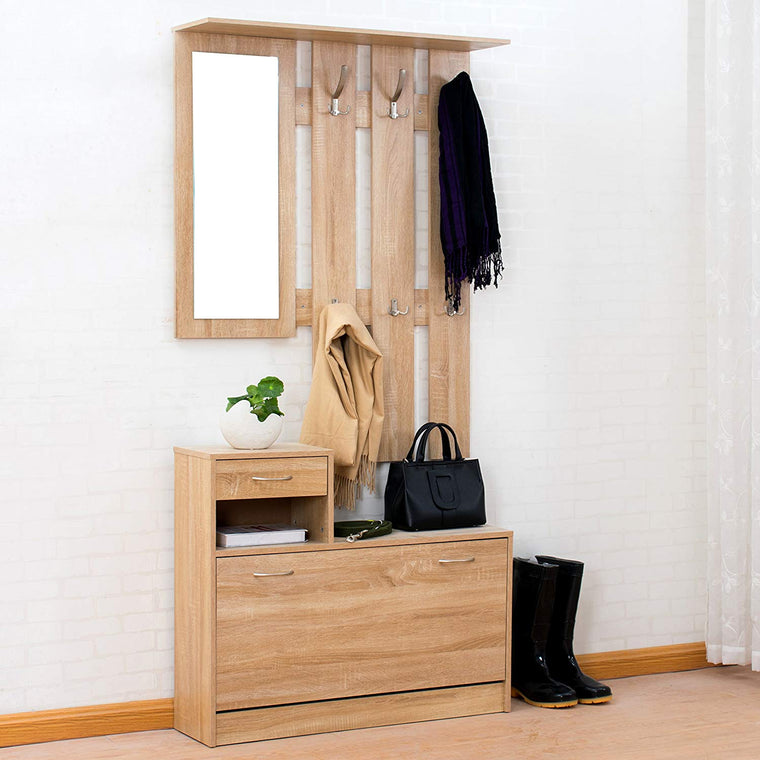 Oak Colour Hall Tree Storage Unit with Floating Coat Hanging Rack with Mirror