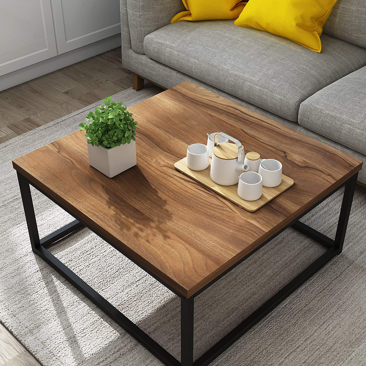 Clive Mid Century Style Walnut Colour Coffee Table With Black Metal Frame Shop Designer Home Furnishings