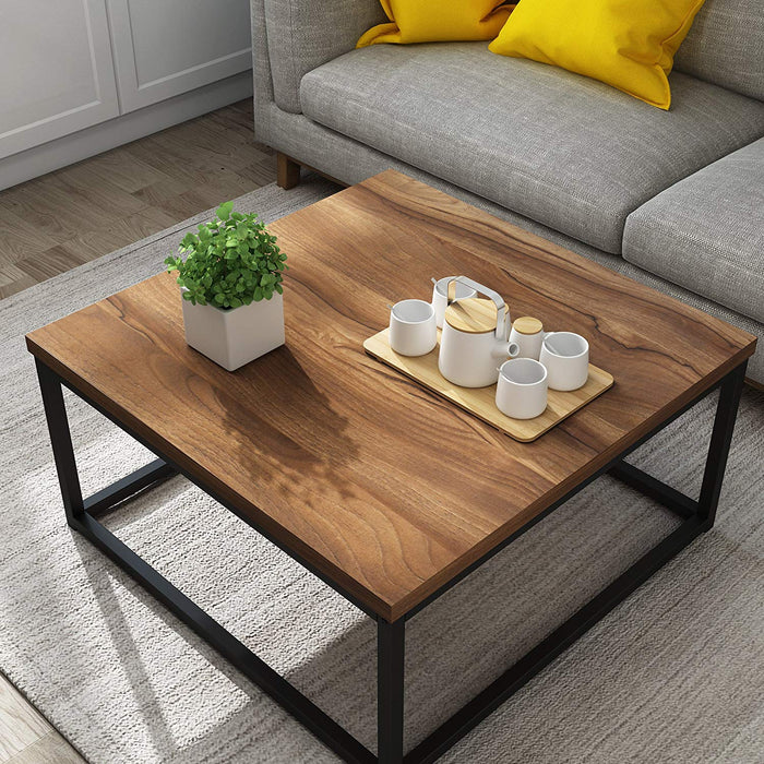 clive mid century style walnut colour coffee table with black metal frame