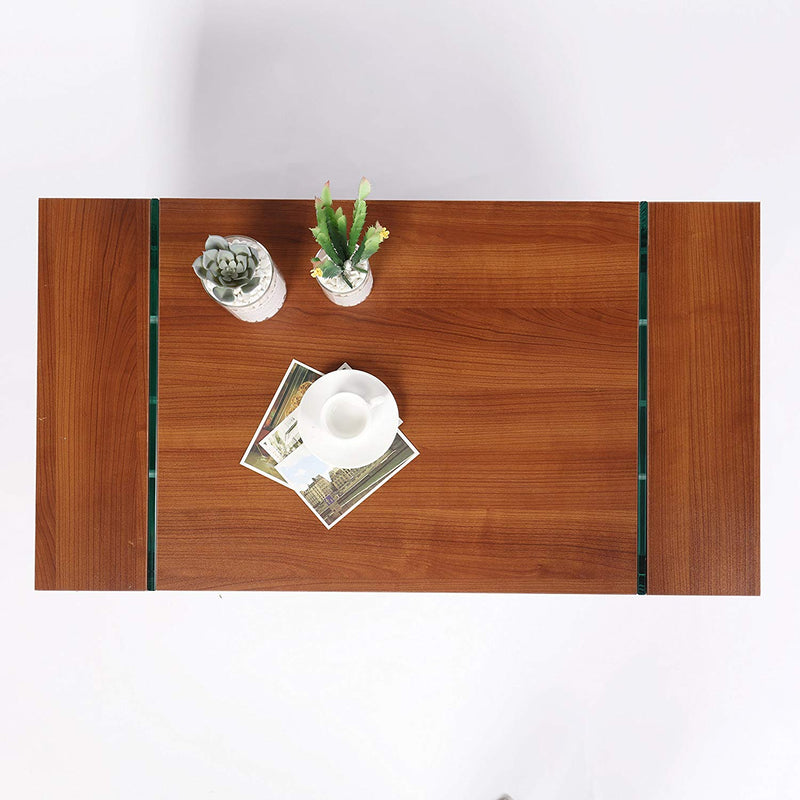 jupiter walnut living room coffee table with glass sheet