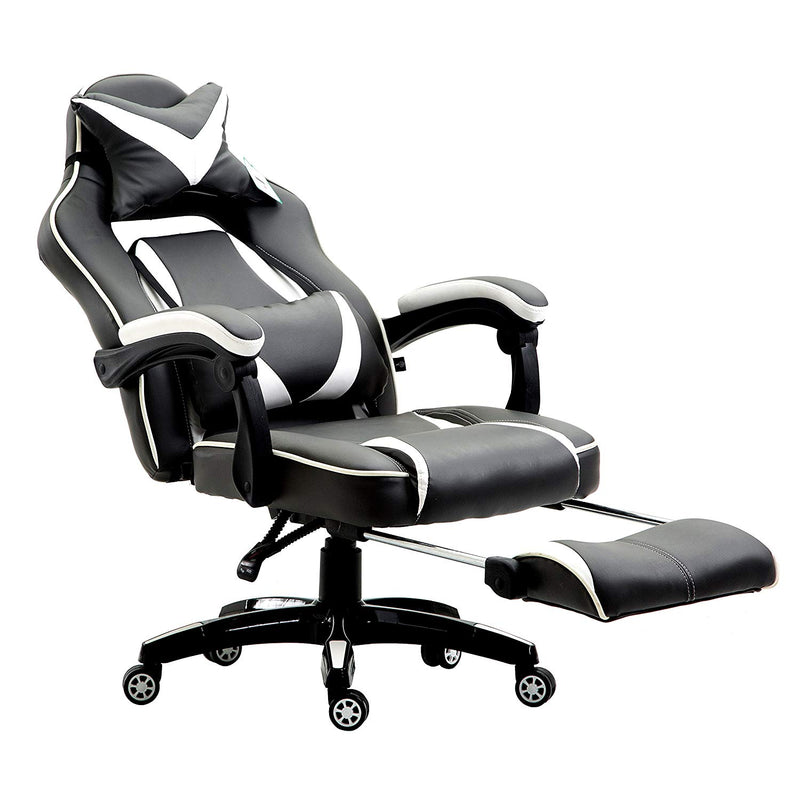 High Back Recliner Gaming Swivel Chair with Footrest & Adjustable Lumbar & Head Cushion, Black & White